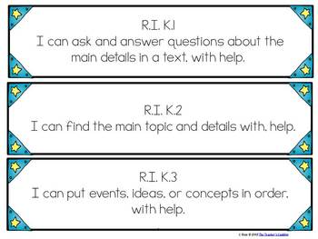 """Kindergarten Common Core """"I Can"""" Student Friendly Statements"""