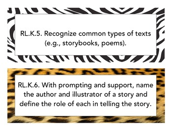 Kindergarten Common Core LA Objectives - Animal Print