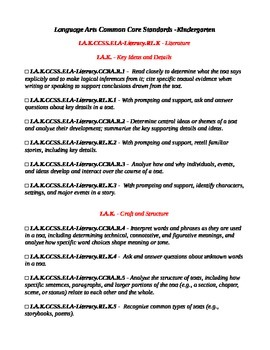 Kindergarten Common Core Language Arts Checklist