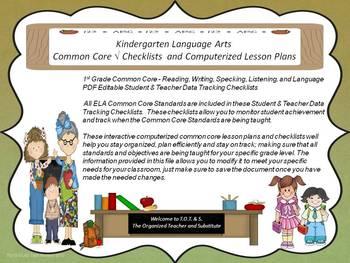 Kindergarten Common Core Language Arts Checklists and Drop Down Lesson Plans