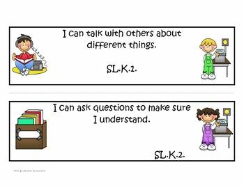 "Kindergarten Common Core Language Arts ""I Can Statements"""