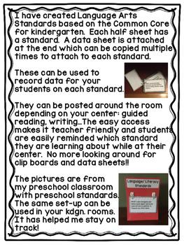 Kindergarten Common Core Language Arts Standards