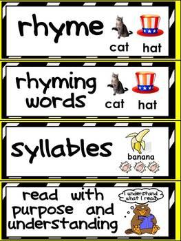 Kindergarten Common Core Language Arts Vocabulary Word Wall Cards