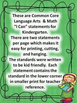 "Kindergarten Common Core Language Arts and Math ""I Can Statements"" Bundled"