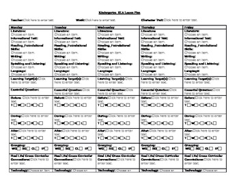 Kindergarten Common Core Lesson Plan