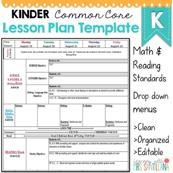 lesson plan templates kindergarten Kindergarten Common Core Lesson Plan Template by Math Tech Connections