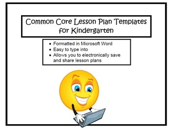 Kindergarten Common Core Lesson Planning Templates in Microsoft Word