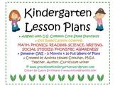 Kindergarten Common Core Lesson Plans - 12345 Full Months!!!! GBK Semester 1