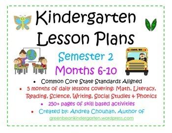 Kindergarten Common Core Lesson Plans 6789 10 FULL MonthsS