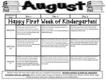 Kindergarten Common Core Literacy and Math Homework Calendar - August