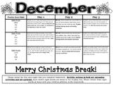 Kindergarten Common Core Literacy and Math Homework Calendar - December