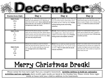 Kindergarten Common Core Literacy and Math Homework Calendar - December