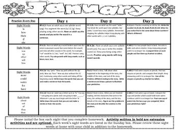 Kindergarten Common Core Literacy and Math Homework Calendar - January
