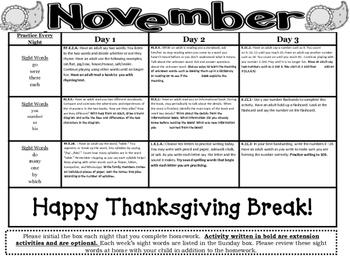 Kindergarten Common Core Literacy and Math Homework Calendar - November