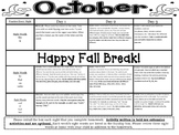 Kindergarten Common Core Literacy and Math Homework Calendar - October