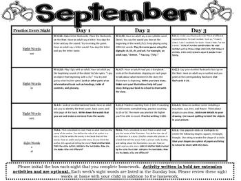 Kindergarten Common Core Literacy and Math Homework Calendar - September