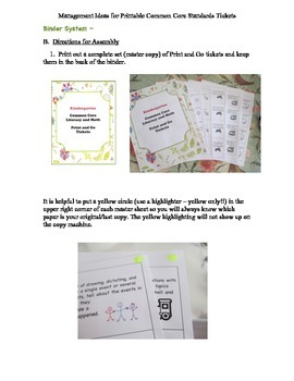 Kindergarten Common Core Literacy and Math Print and Go Tickets
