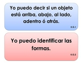 """Kindergarten Common Core - MATH Geometry """"I Can"""" Signs (Spanish)"""