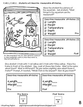 Kindergarten Common Core Math Assessment - 3rd Marking Period