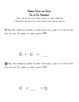 Kindergarten Common Core Math Assessment Numbers 15 and 16