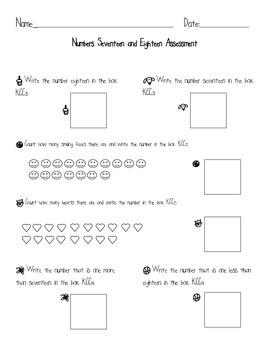 Kindergarten Common Core Math Assessment Numbers 17 & 18