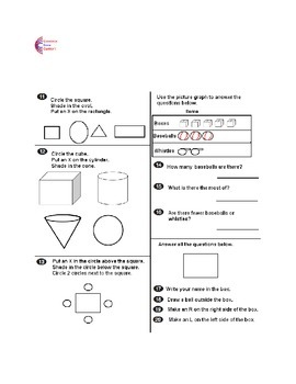 Kindergarten Common Core Math Assessment Package 2  Tests Form C and D