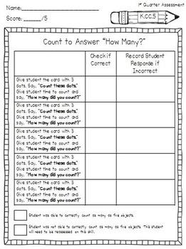 Kindergarten Common Core Math Assessment Tasks (First Quarter)