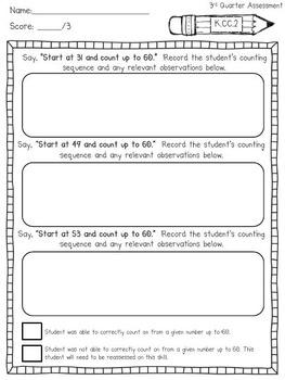 Kindergarten Common Core Math Assessment Tasks (Third Quarter)