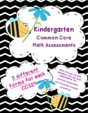 Kindergarten Common Core Math Assessments K.CC, K.OA, K.NBT, K.MD, K.G
