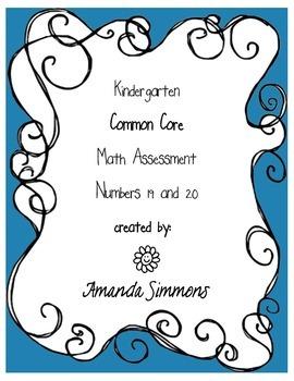 Kindergarten Common Core Math Assessments Number 19 & 20