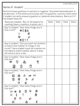Kindergarten Common Core Math Assessments Packet