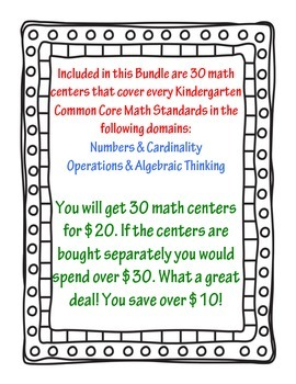 Kindergarten Common Core Math Centers (Envision Math 1-9)