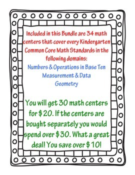 Kindergarten Common Core Math Centers (Envision Math 10-16)