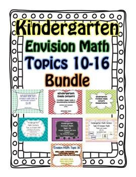 Kindergarten Common Core Math Centers (Envision Math 10-16)