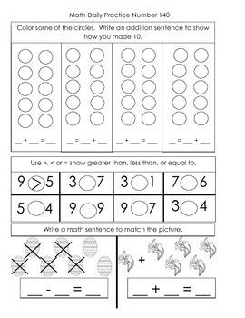Kindergarten Common Core Math Daily Practice - Fourth Term