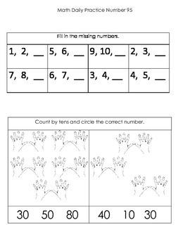 Kindergarten Common Core Math Daily Practice - Third Term