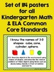 """Common Core """"I Can"""" Statements Posters for Kindergarten {ELA & Math BUNDLE}"""
