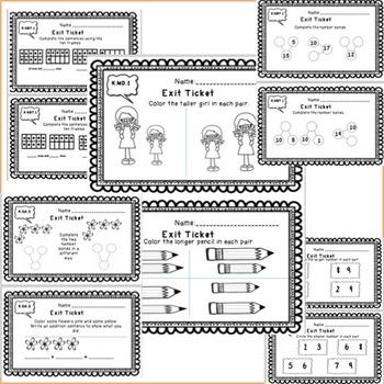 Kindergarten Math Exit Tickets