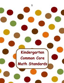 Kindergarten Common Core Math Flip Chart