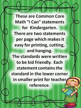 "Kindergarten Common Core Math ""I Can Statements."""