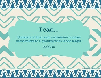 """Kindergarten Common Core Math """"I can..."""" Posters Tribal Design"""