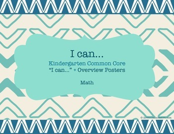 "Kindergarten Common Core Math ""I can..."" Posters Tribal Design"