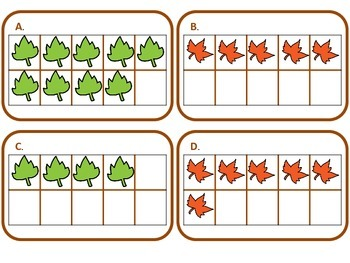 Kindergarten Common Core Math - Leafy Frames Task Card Activity - K.CC.4