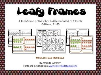 Kindergarten Common Core Math - Leafy Frames Task Card Act