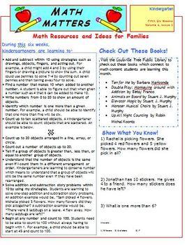 Kindergarten Common Core Math Newsletters