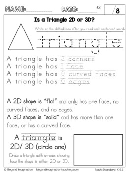 Kindergarten Math Worksheets Geometry Identify and Describe Shapes Common Core