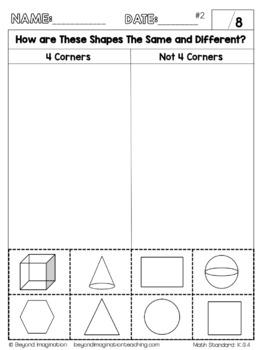 Kindergarten Common Core Math | No Prep Worksheets | K.G.4 ...
