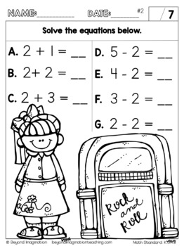 Kindergarten Math Worksheets Addition and Subtraction Common Core Aligned