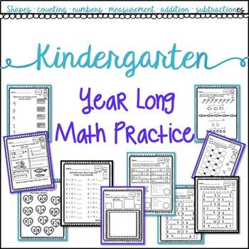 Kindergarten Year Long Math Practice (No prep!)