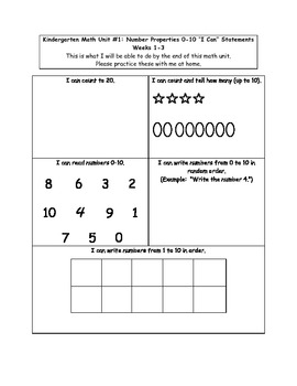 """Kindergarten Common Core Math Pre/Post Tests and """"I Can"""" Statements"""